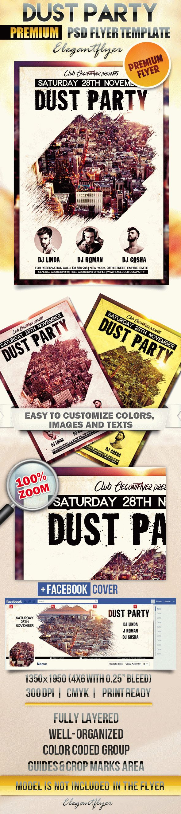 Dust Party – Flyer PSD Template + Facebook Cover