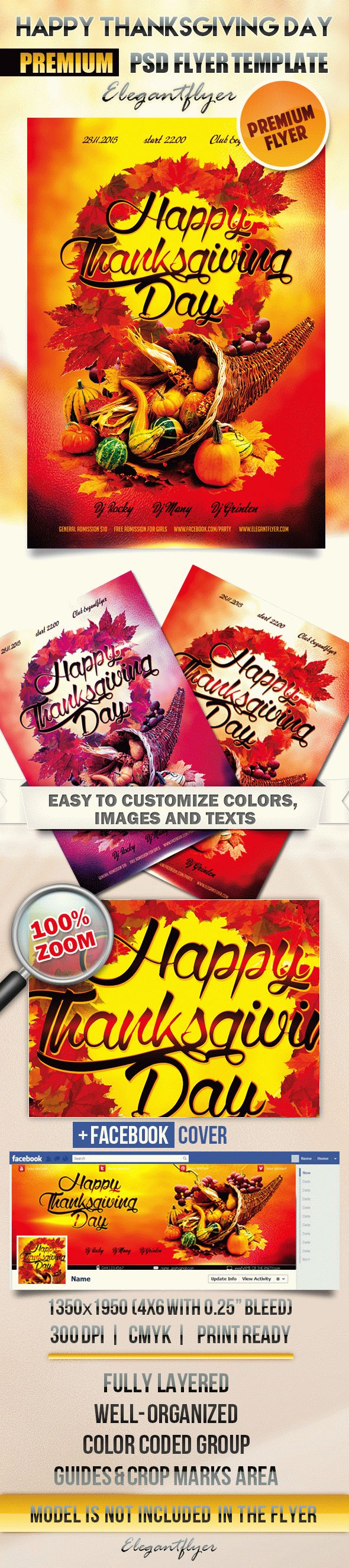 Happy Thanksgiving Day – Flyer PSD Template + Facebook Cover