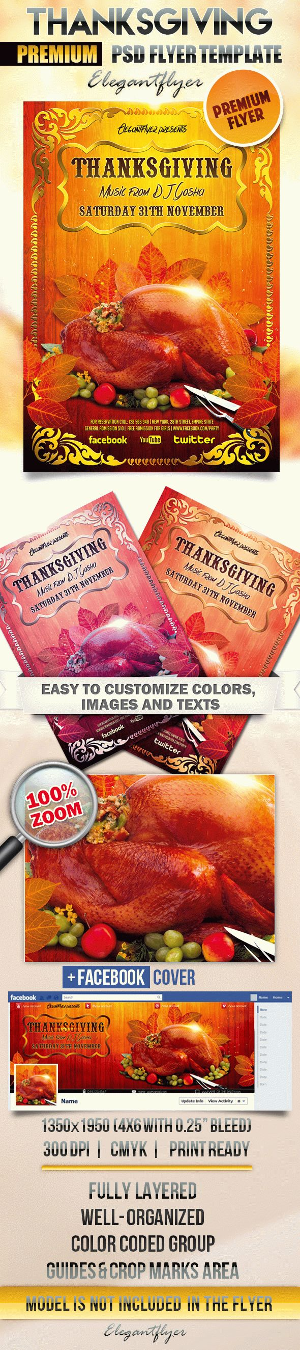 Perfect Thanksgiving Turkey PSD Template