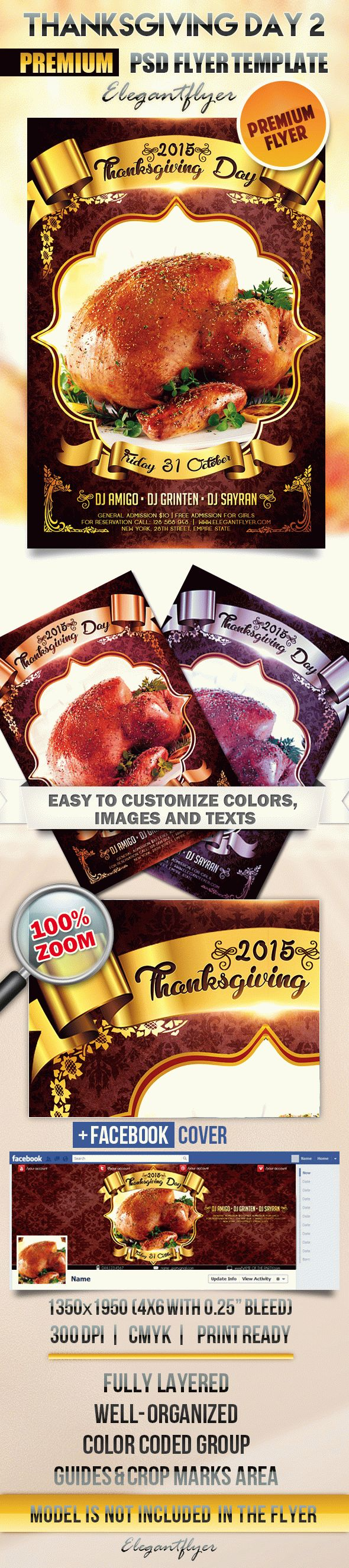 Thanksgiving Day 2 – Flyer PSD Template + Facebook Cover
