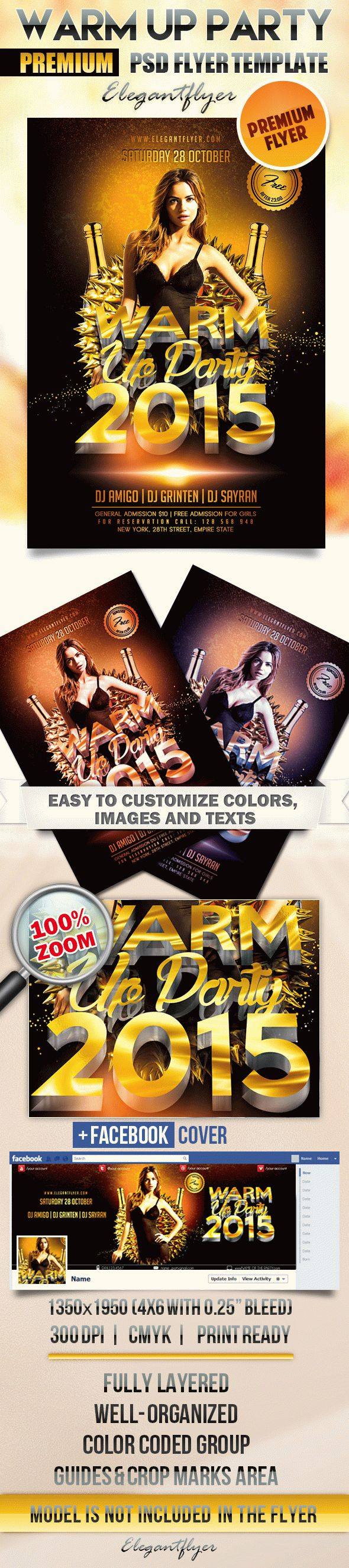 Warm Up Party – Flyer PSD Template + Facebook Cover