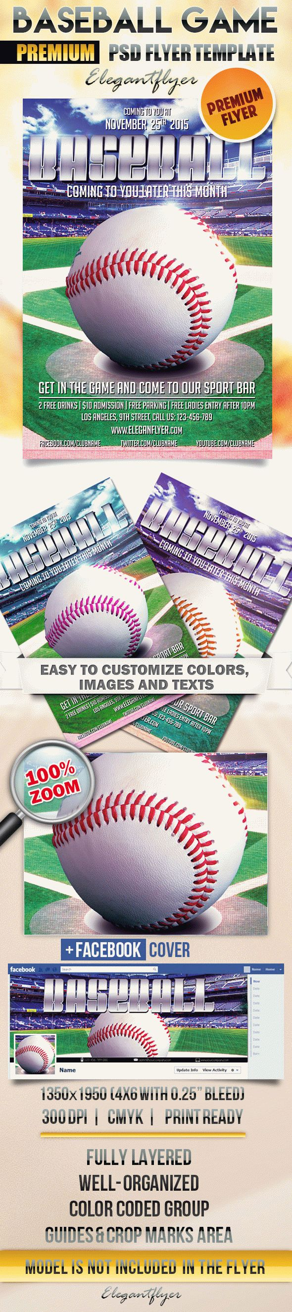 Baseball Game – Flyer PSD Template + Facebook Cover