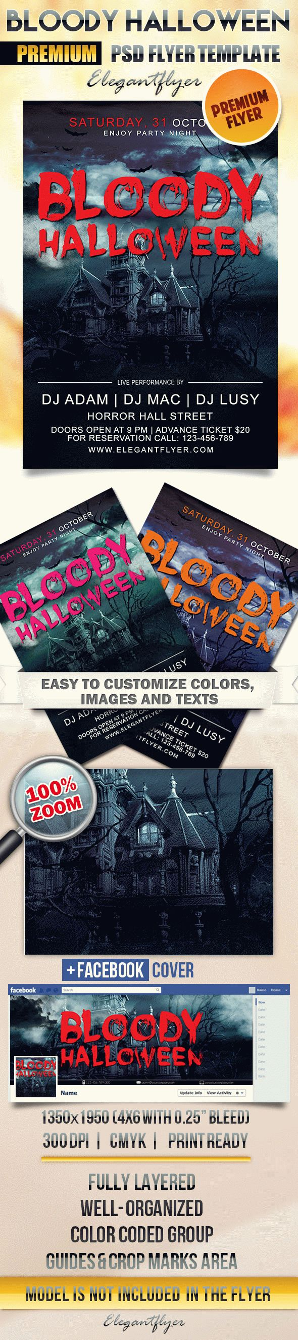 Flyer Template for Bloody Halloween Theme