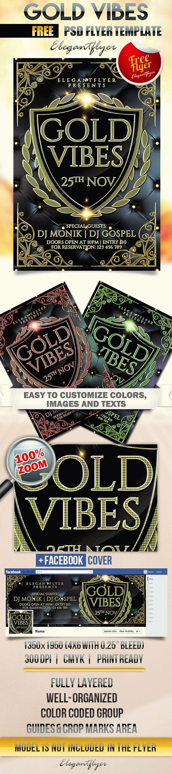 Gold Vibes – Free Flyer PSD Template
