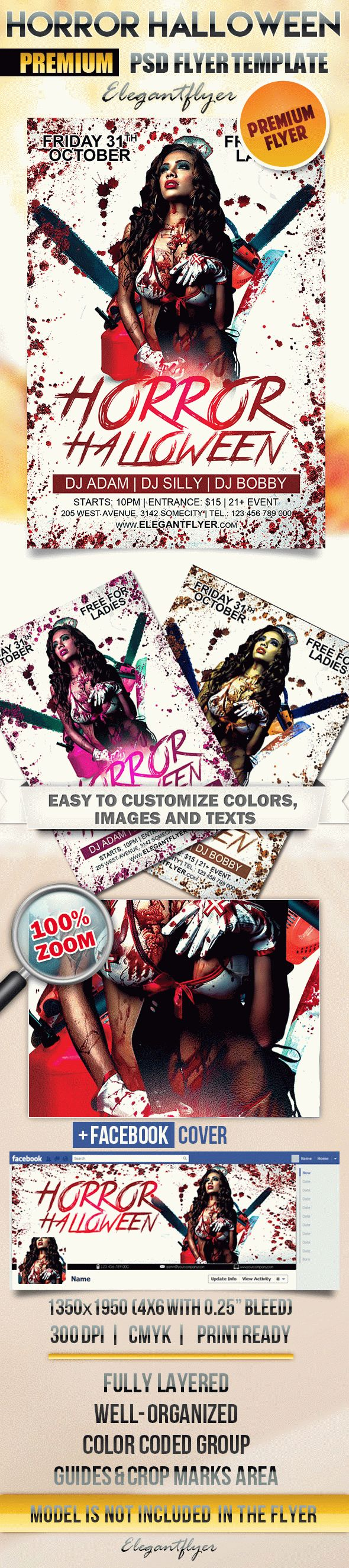 Horror Halloween – Flyer PSD Template + Facebook Cover