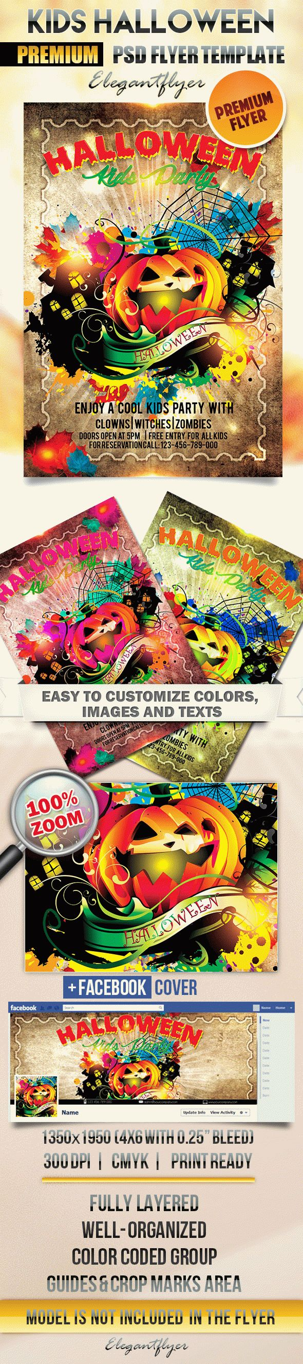 Kids Halloween Party – Flyer PSD Template + Facebook Cover – by ...