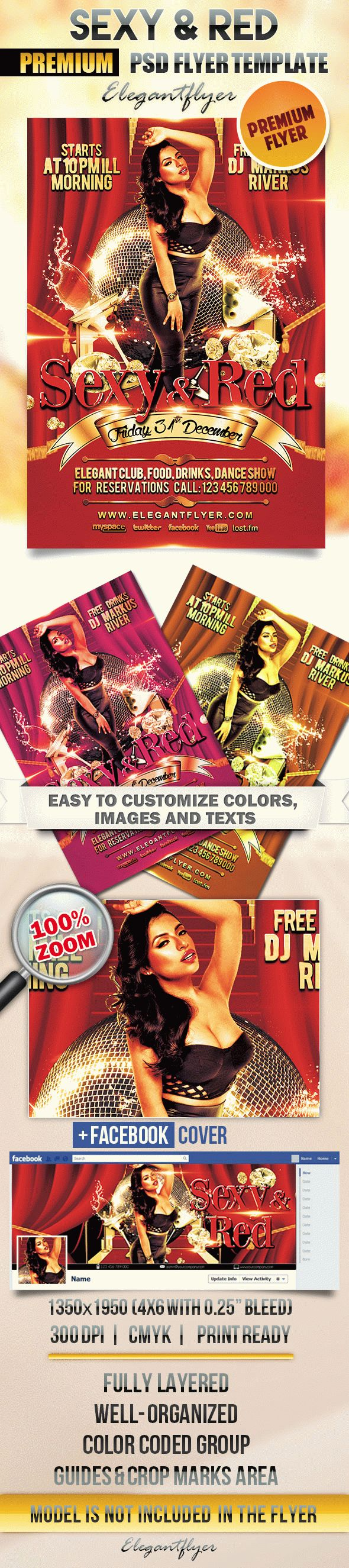 Sexy and Red – Flyer PSD Template + Facebook Cover