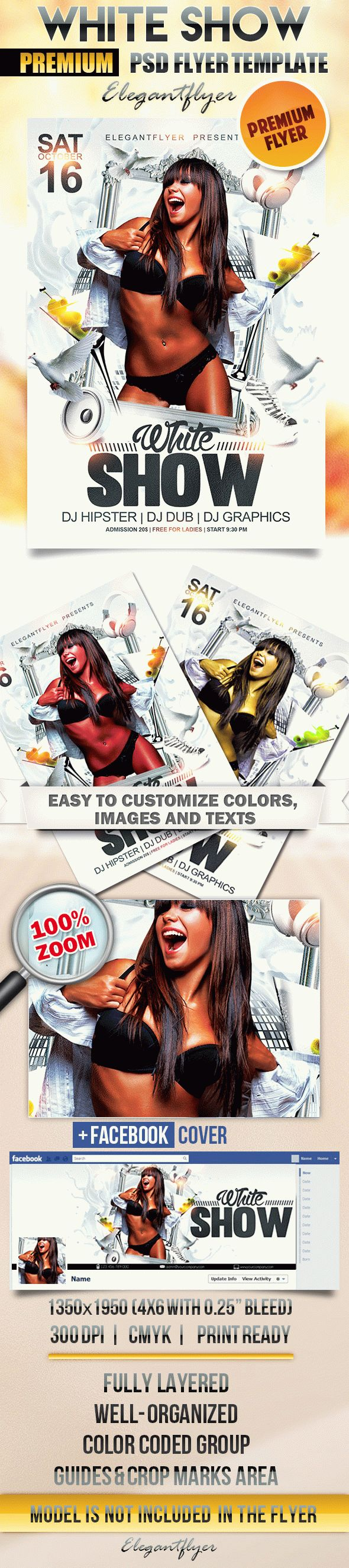 White Show – Flyer PSD Template + Facebook Cover