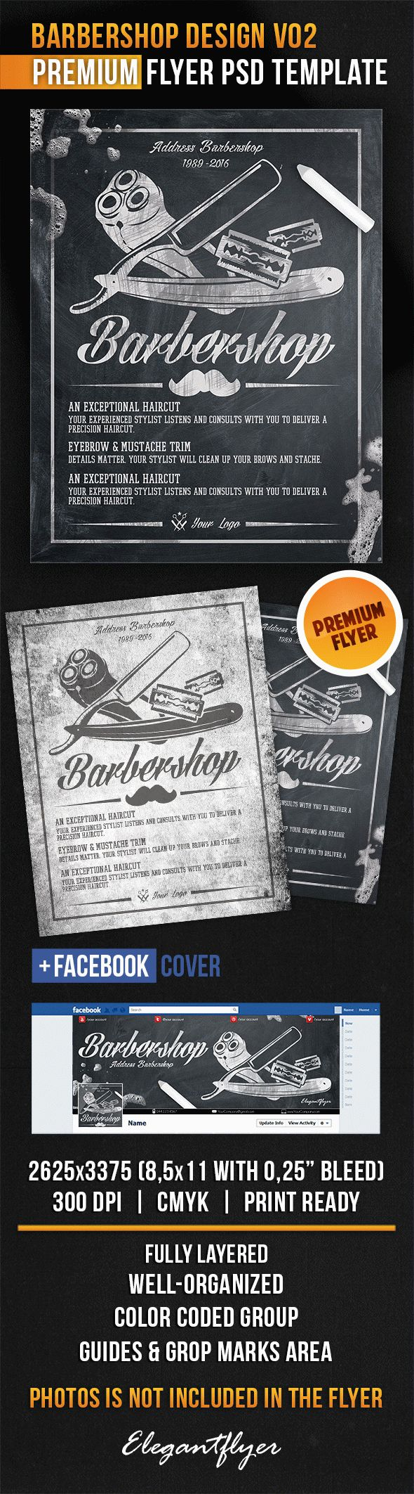 Barbershop Design V02 – Flyer PSD Template + Facebook Cover