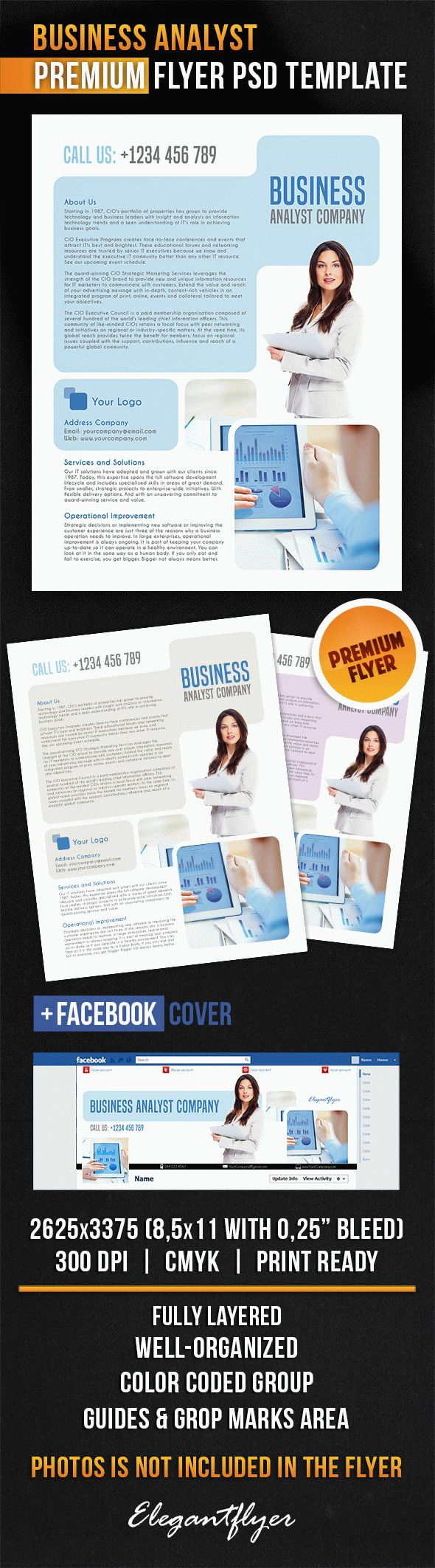 Business Analyst – Flyer PSD Template + Facebook Cover