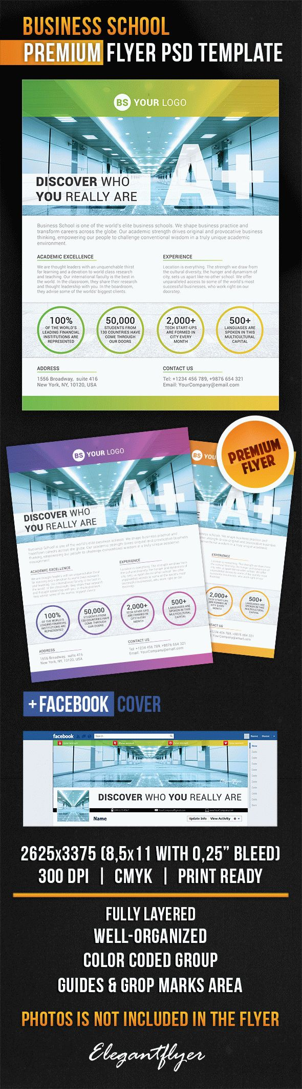 Business School Flyer PSD Template + Facebook Cover