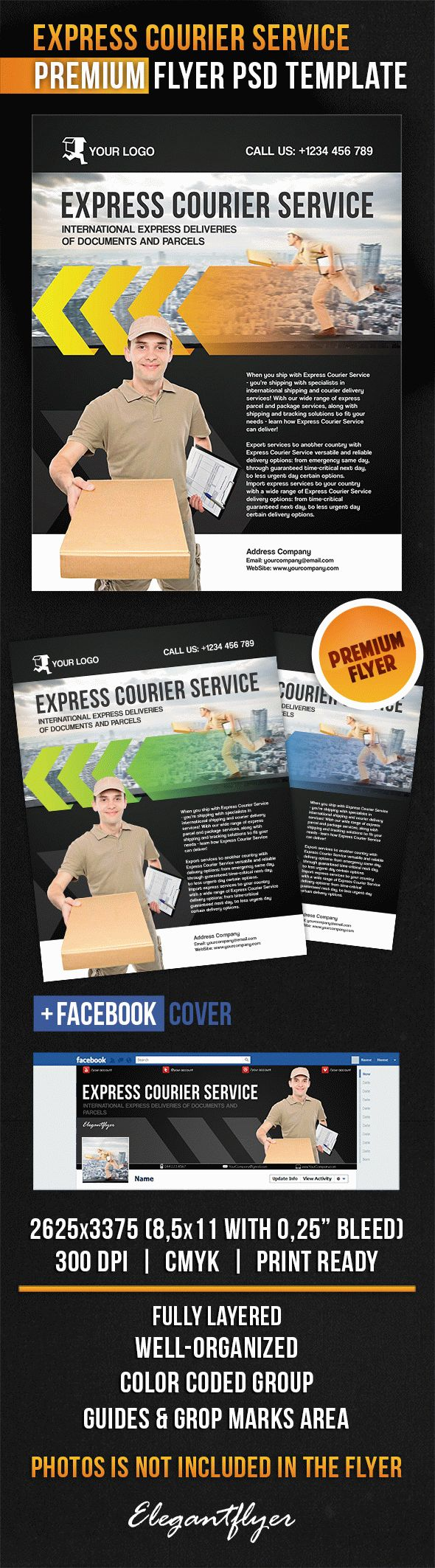 Express Courier Service – Flyer PSD Template + Facebook Cover