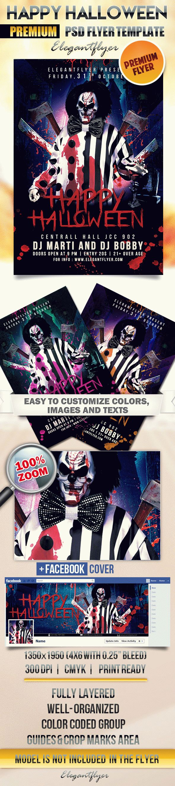 Happy Halloween – Flyer PSD Template + Facebook Cover