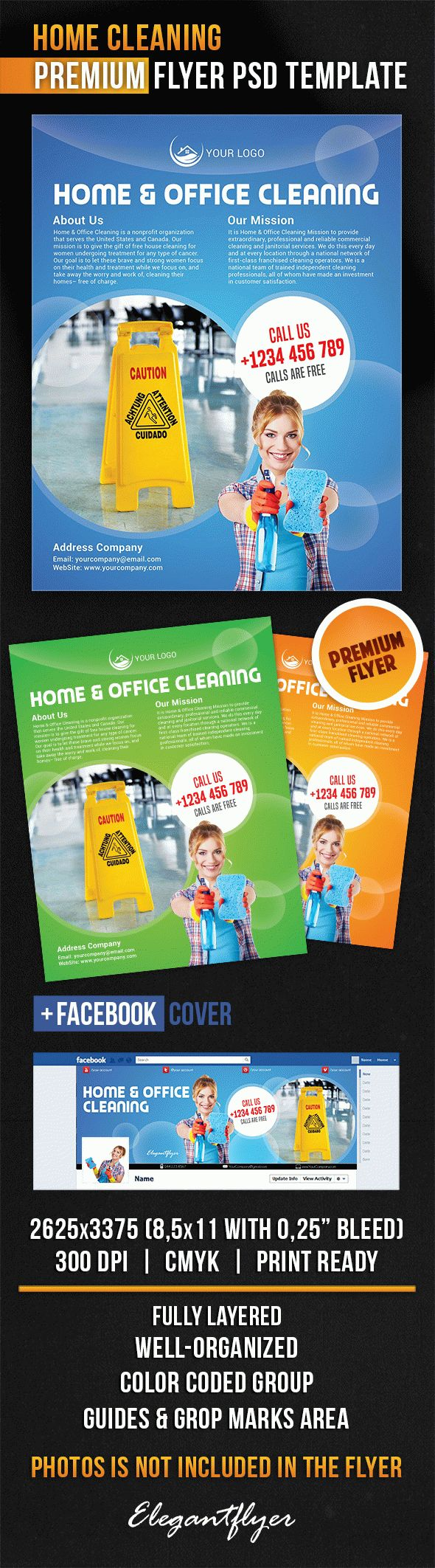 Home Cleaning – Flyer PSD Template + Facebook Cover