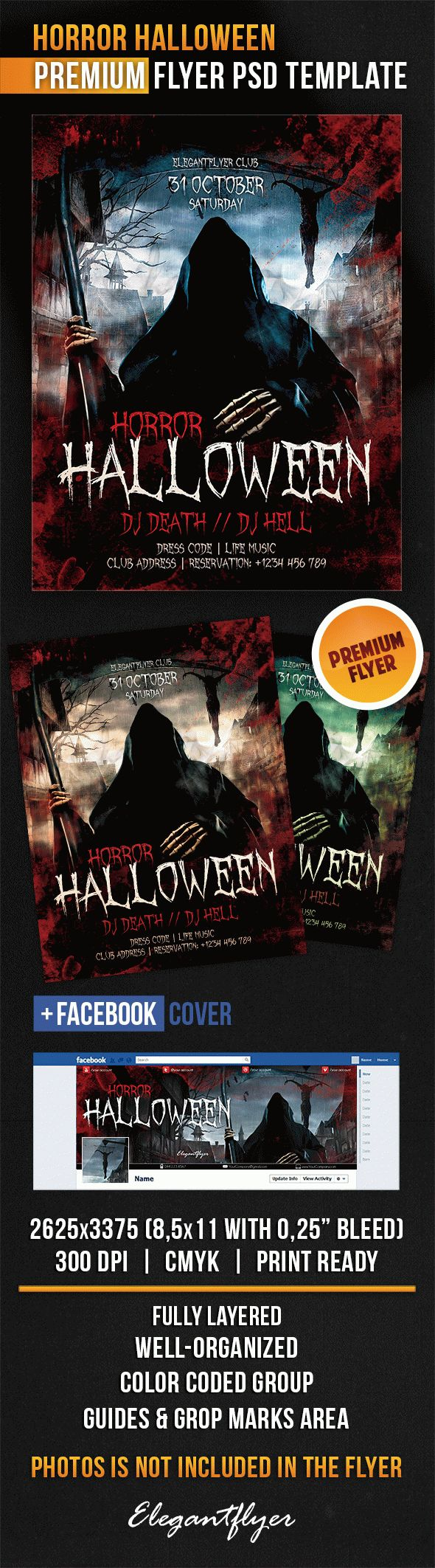 Horror Halloween Flyer in PSD Template