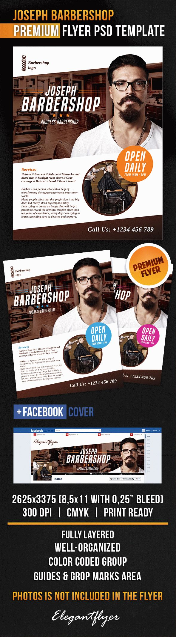 Joseph Barbershop – Flyer PSD Template + Facebook Cover