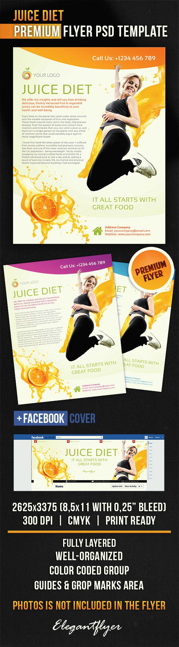 Juice Diet – Flyer PSD Template + Facebook Cover