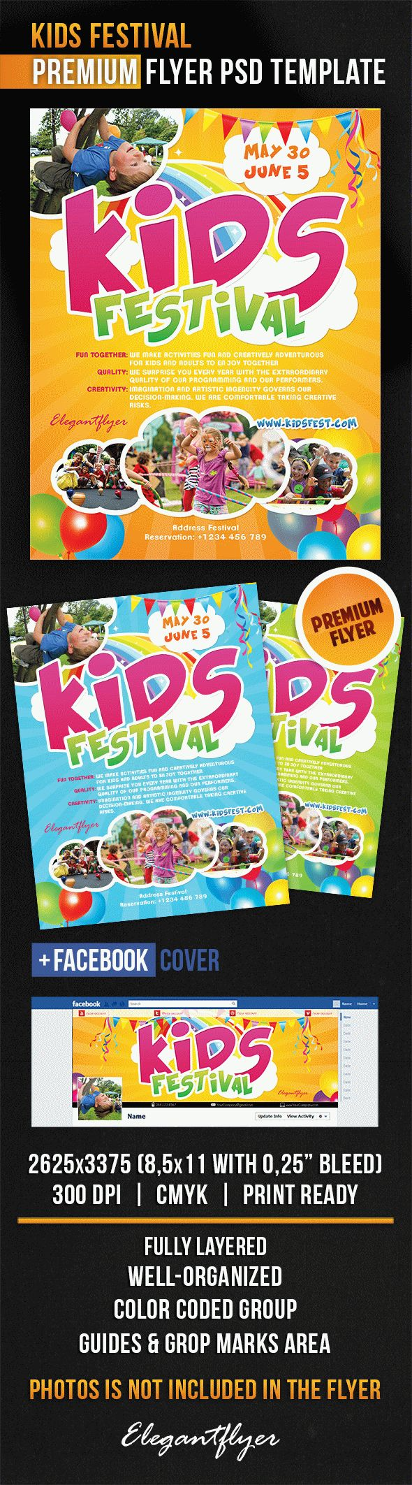 Kids festival flyer psd template by elegantflyer kids festival flyer psd template maxwellsz
