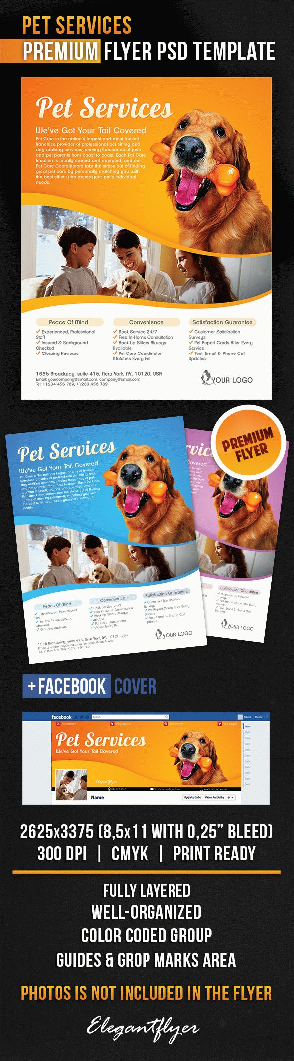 Pet Services – Flyer PSD Template + Facebook Cover