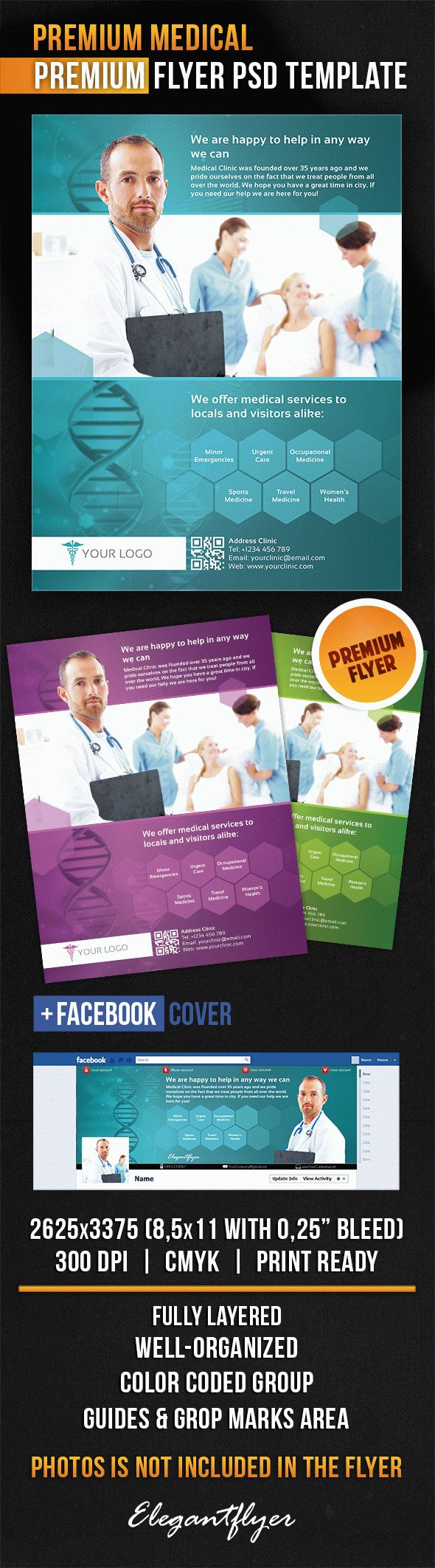 Premium Medical – Flyer PSD Template + Facebook Cover