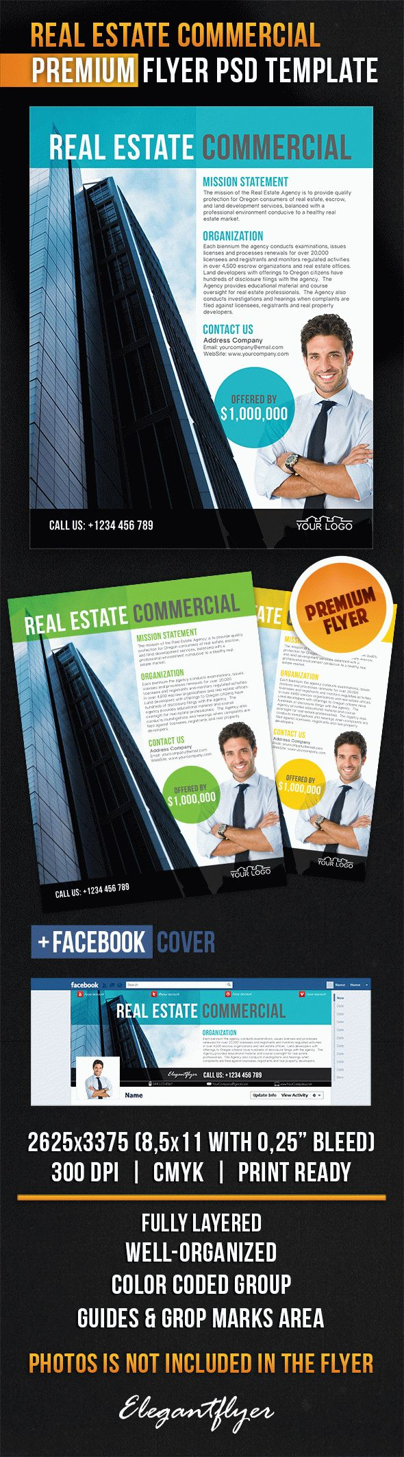 Real Estate Commercial – Flyer PSD Template + Facebook Cover