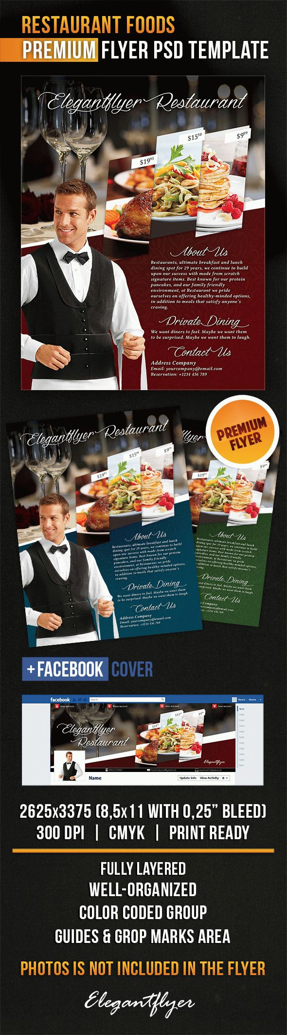Restaurant Foods – Flyer PSD Template + Facebook Cover