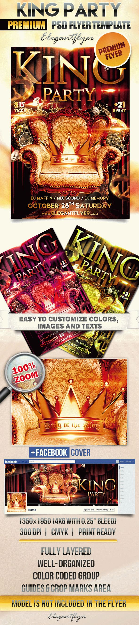 Kings Party – Flyer PSD Template + Facebook Cover