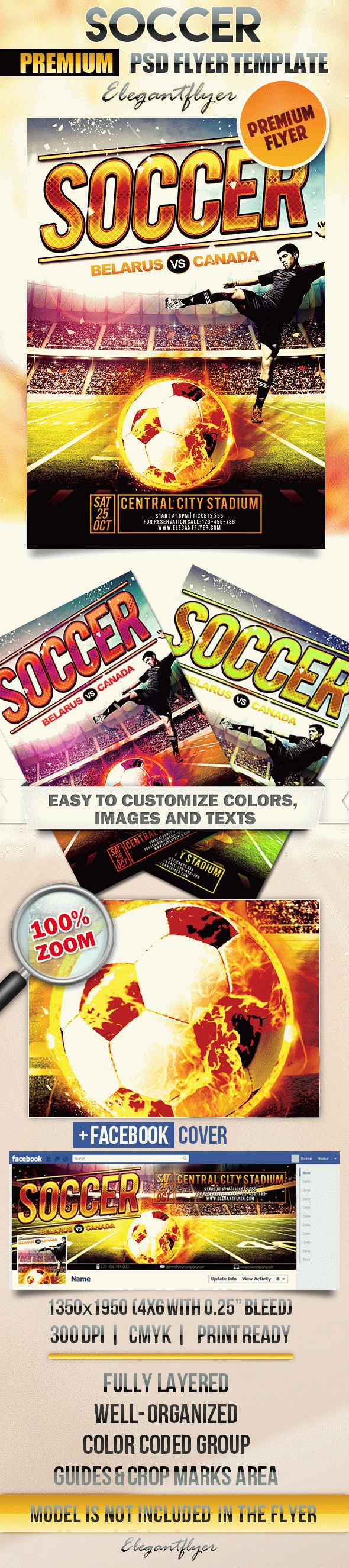 Soccer – Flyer PSD Template + Facebook Cover