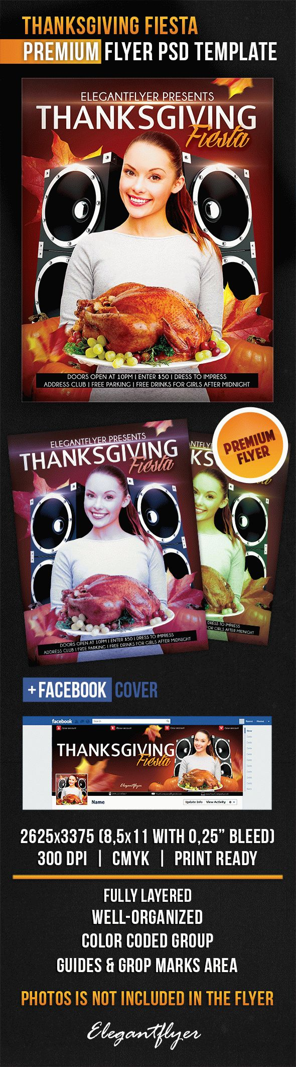 Thanksgiving Fiesta – Flyer PSD Template + Facebook Cover