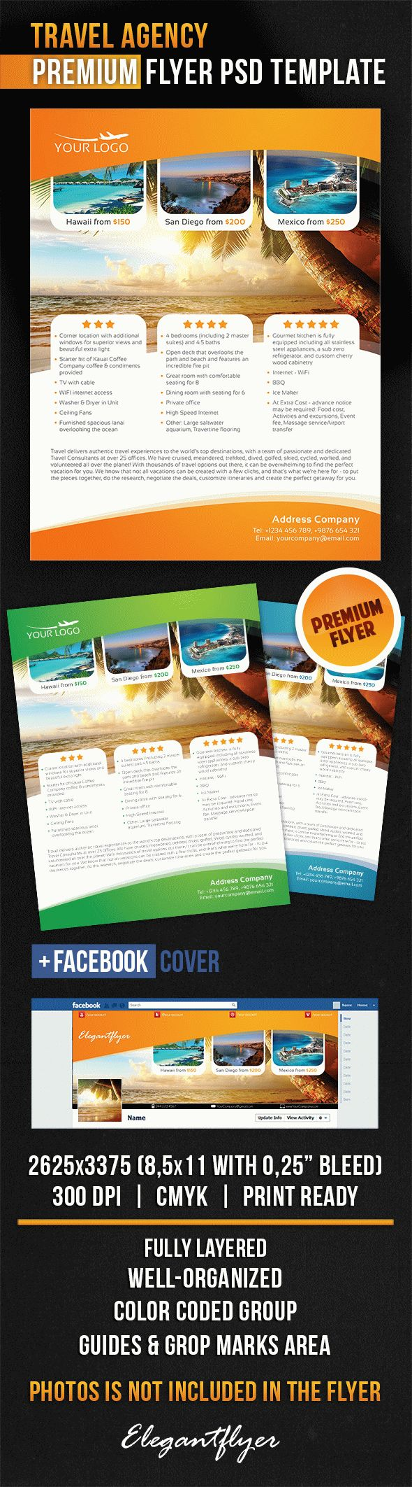 Travel Agency – Flyer PSD Template + Facebook Cover