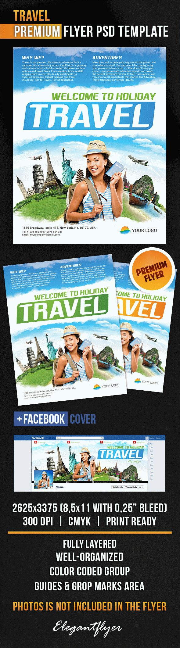 Travel – Flyer PSD Template + Facebook Cover