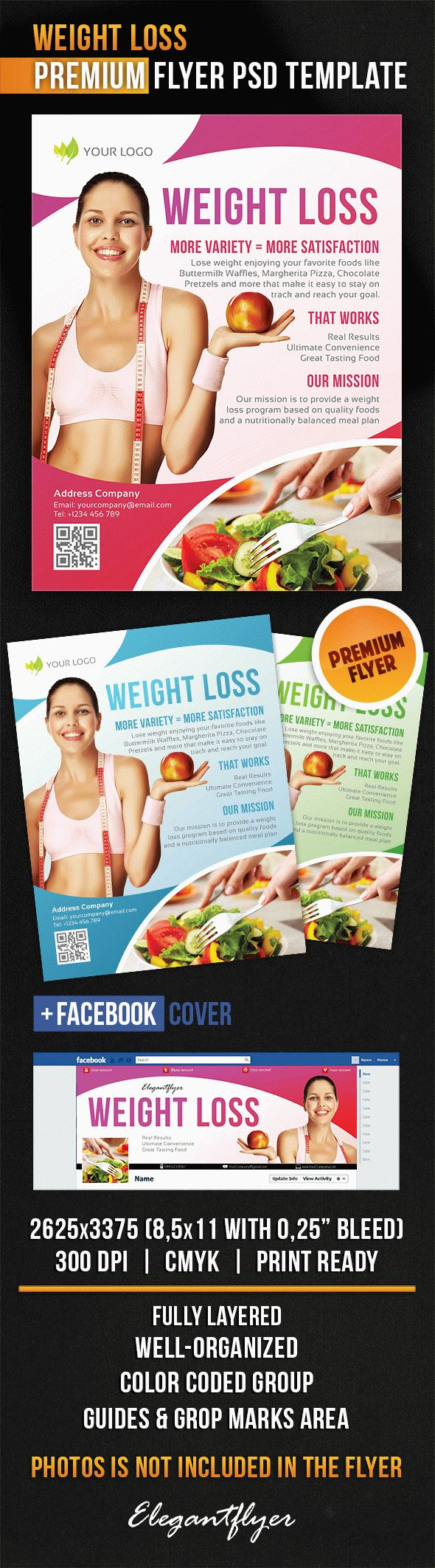 Weight Loss – Flyer PSD Template + Facebook Cover