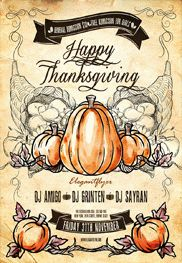 Happy Thanksgiving – Flyer PSD Template + Facebook Cover
