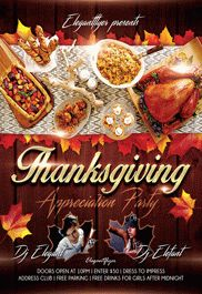 Thanksgiving Day 4 – Flyer PSD Template + Facebook Cover