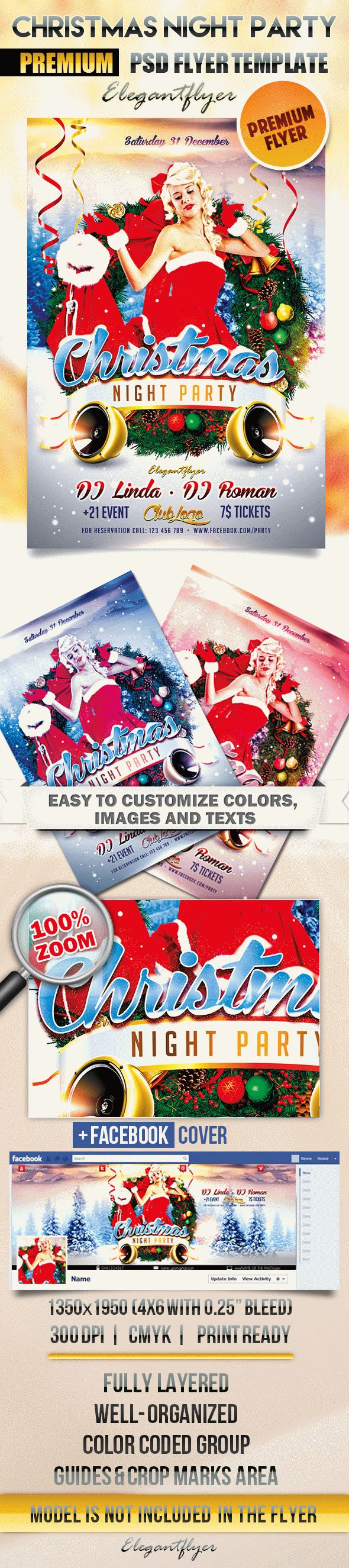 Christmas Night Party – Flyer PSD Template + Facebook Cover