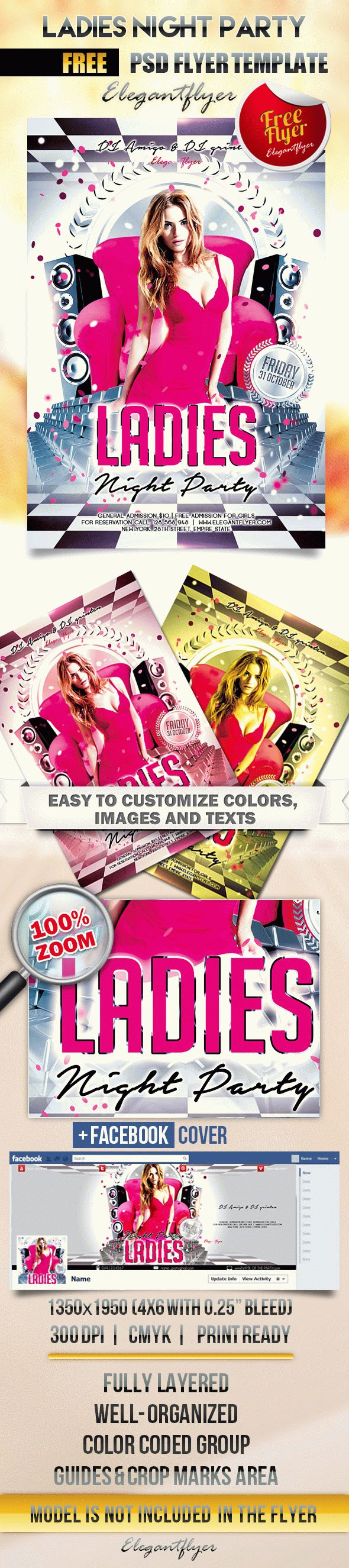 LADIES Night Party – Flyer PSD Template