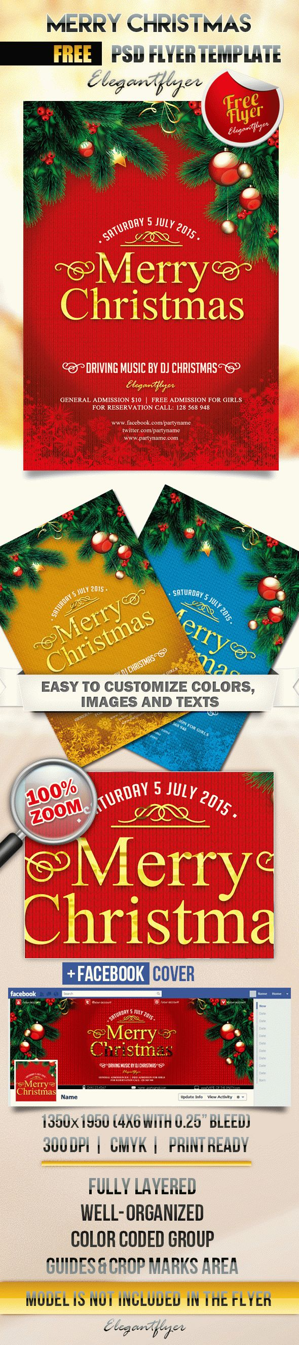 free christmas flyer templates - merry christmas flyer psd template facebook cover by