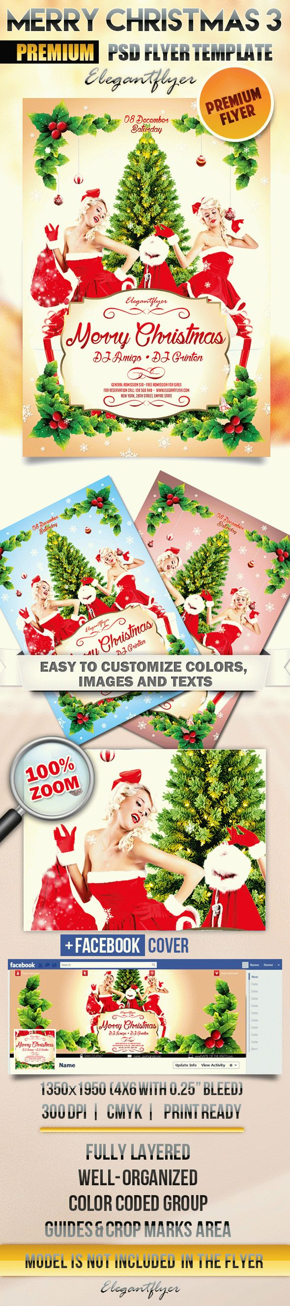Merry Christmas 3 – Flyer PSD Template + Facebook Cover