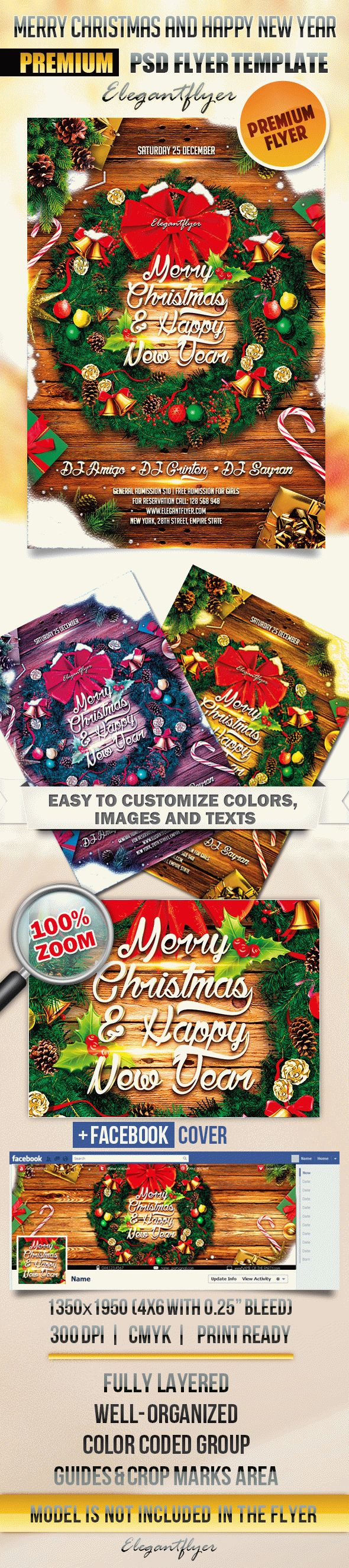 Merry Christmas and Happy New Year – Flyer PSD Template + Facebook Cover