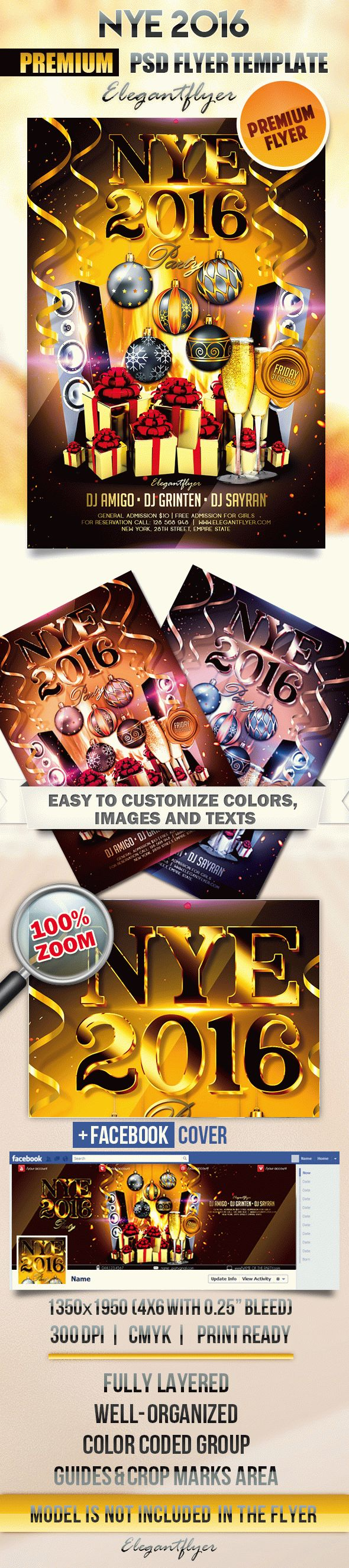 NYE 2016 – Flyer PSD Template + Facebook Cover