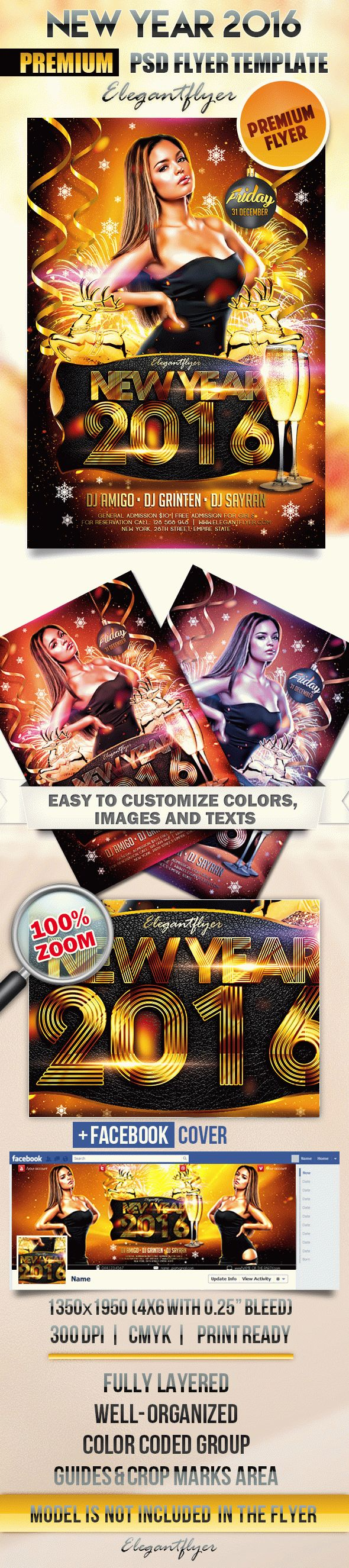 New Year 2016 – Flyer PSD Template + Facebook Cover