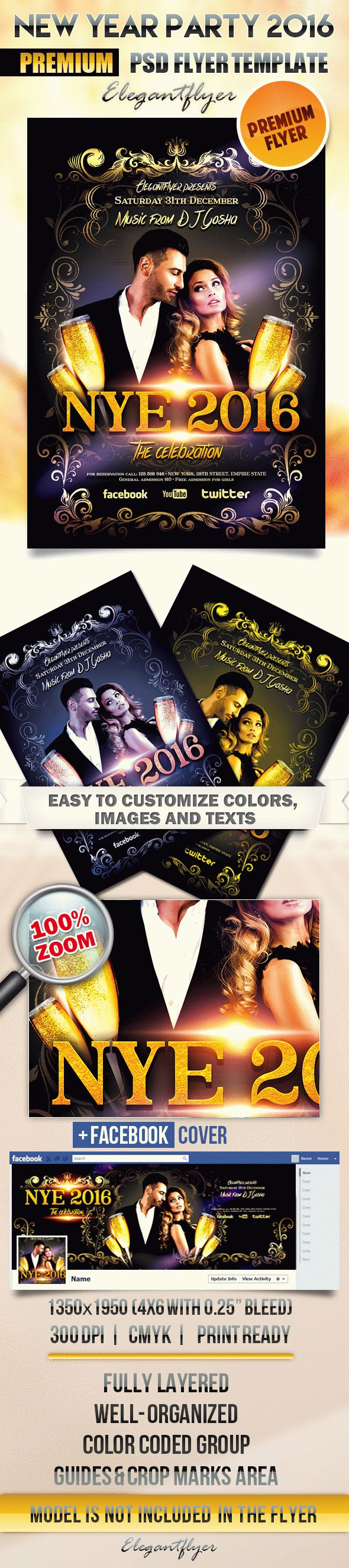 New Year Party 2 – Flyer PSD Template + Facebook Cover
