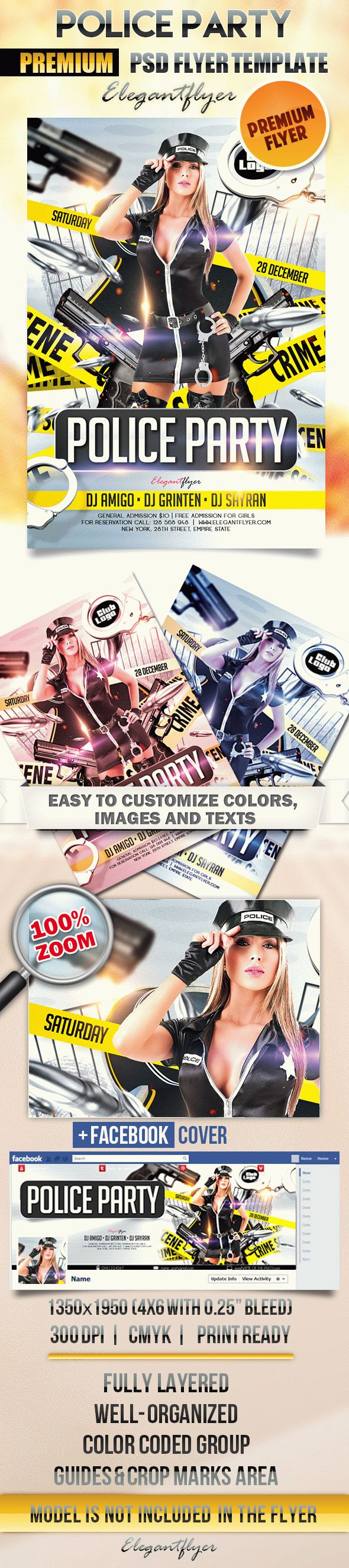 Police Party – Flyer PSD Template + Facebook Cover
