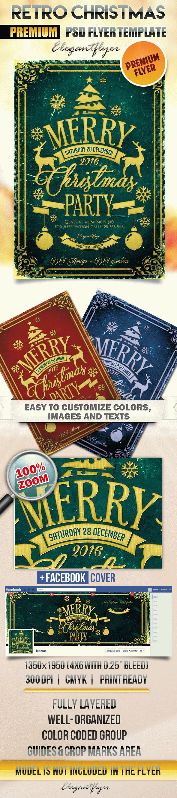 Retro Christmas – Flyer PSD Template