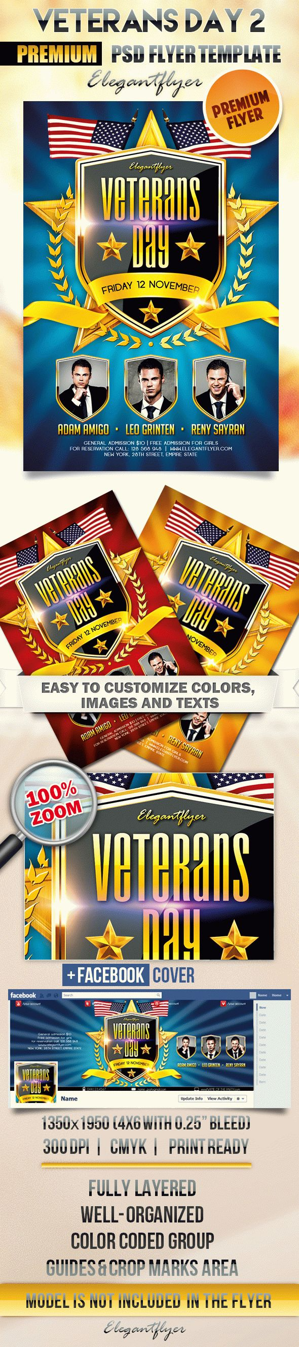 Veterans Day 2 – Flyer PSD Template + Facebook Cover