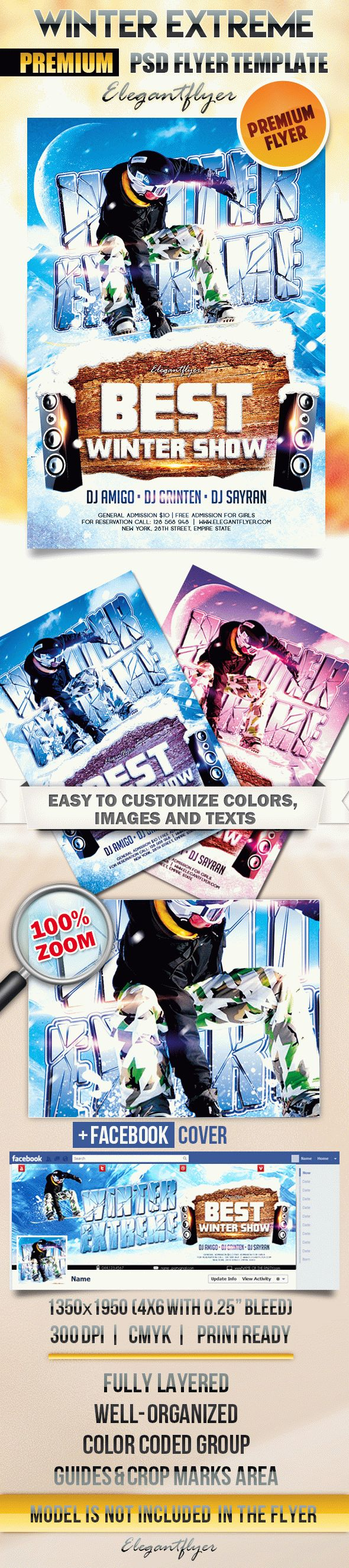 Winter Extreme – Flyer PSD Template + Facebook Cover