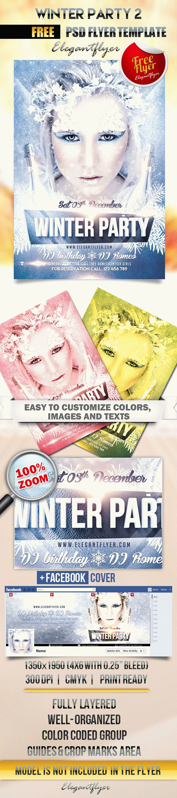 Winter Party 2 – Flyer PSD Template + Facebook Cover