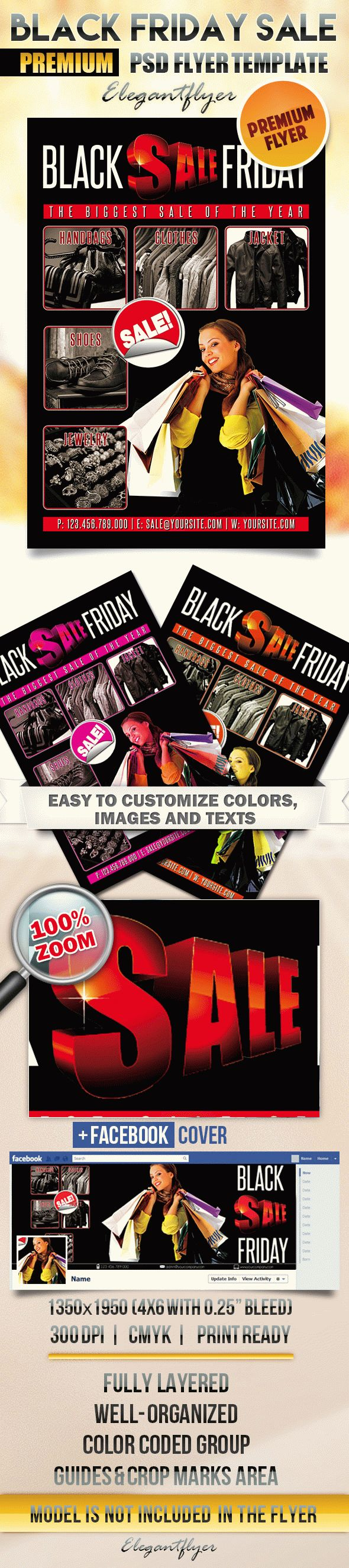 Black Friday Sale – Flyer PSD Template + Facebook Cover