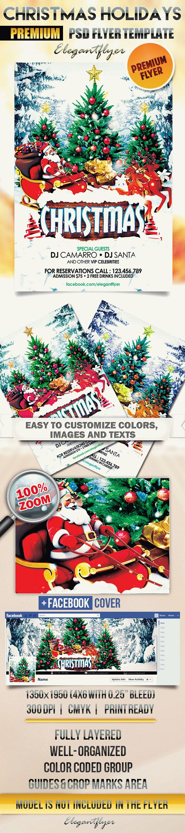 Christmas Holidays – Flyer PSD Template + Facebook Cover