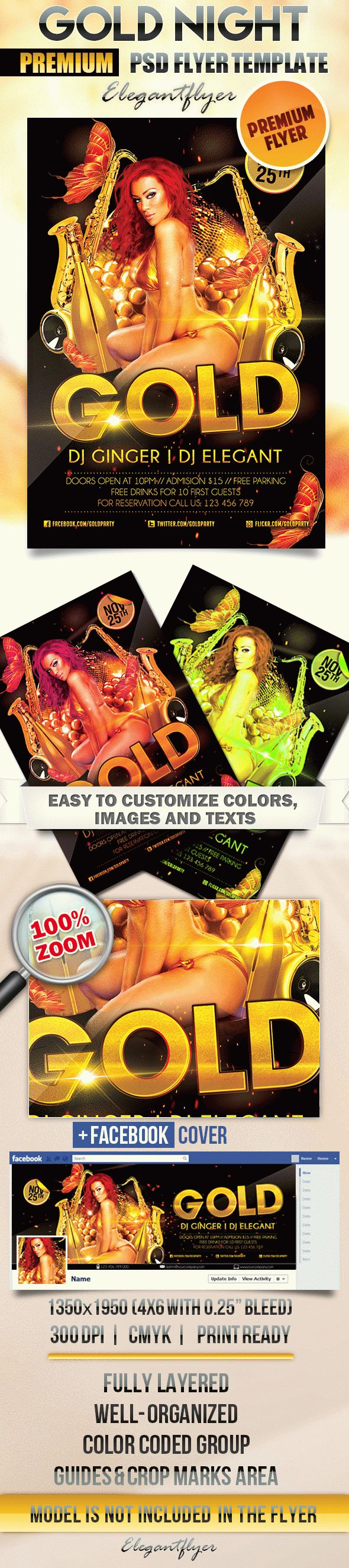Gold Night Club Flyer in PSD